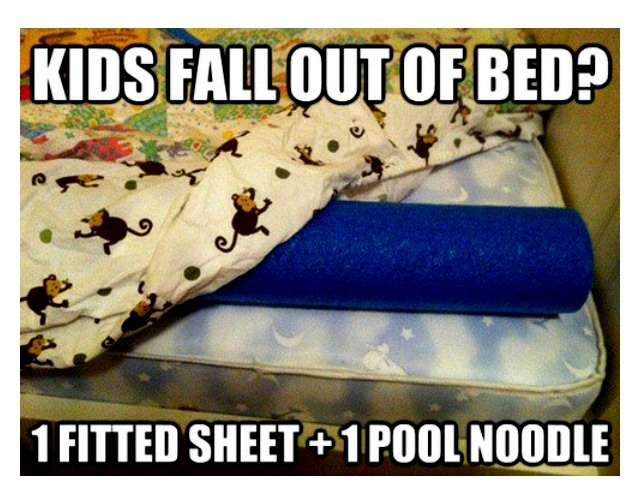Pool noodles can be put under the covers/sheets to help keep a baby from ro
